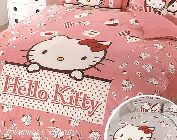 *睡美人寢具工坊*【Hello kitty.時尚茶點-粉】雙人床包雙人兩用被套組四件式【5*6.2】