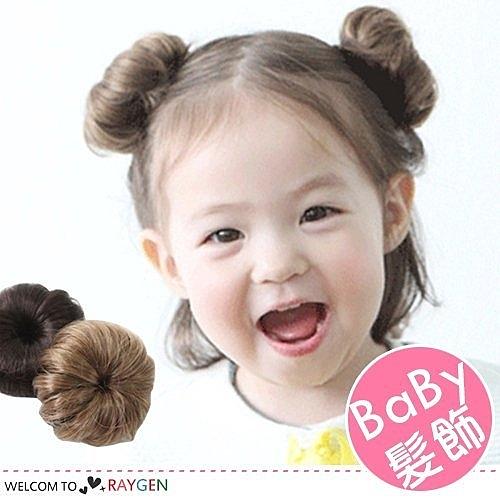 公主女孩髮飾一朵花丸子頭假髮 髮夾
