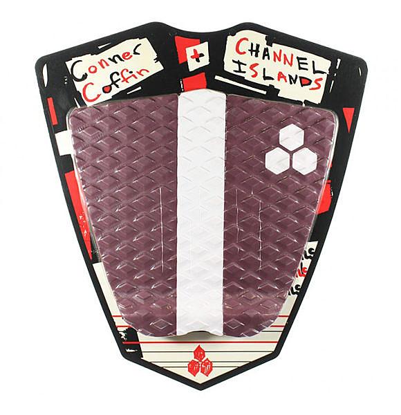 Channel Islands 專業衝浪配件:CONNER COFFIN FLAT PAD 三片式防滑墊 / 止滑墊 - (棗紅/白)