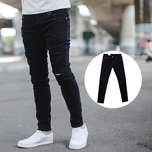 牛仔褲 韓國製抓破抽鬚小鐵環彈性窄版牛仔褲【NB0605J】