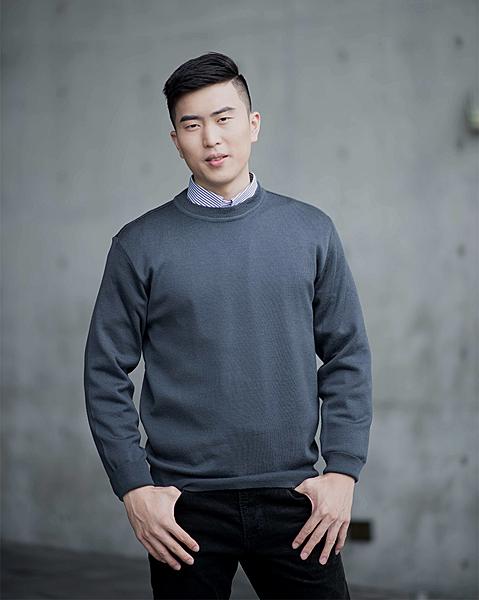 男士 針織毛衣 防縮 小圓領毛衣 純羊毛衣 三燕牌羊毛上衣 美麗諾羊毛 100%純羊毛 7977-12 圓領 深灰