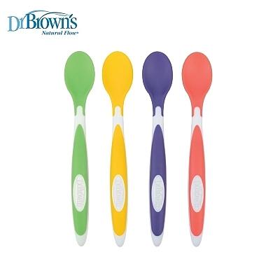 布朗博士 Dr.Brown's 彈性矽膠學習湯匙(4入) /軟質餵食湯匙.訓練餐具.不碰桌設計