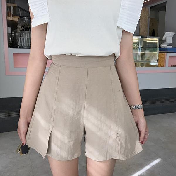 [超豐國際]夏季女裝百搭純色短褲高腰寬松顯瘦開叉闊腿褲學生休1入