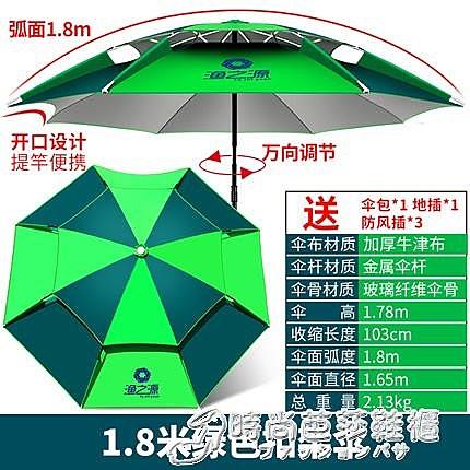 釣魚傘 2.2米萬向防雨加厚雙層摺疊遮陽傘防曬2.4大釣傘 時尚芭莎