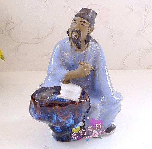 【協貿國際】迷你雕塑瓷擺件詩聖杜甫寫詩書法擺設