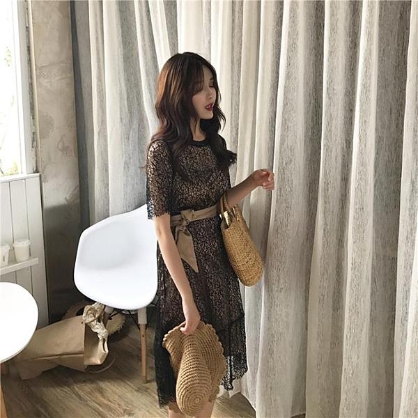 [超豐國際]鏤空蕾絲兩件套連衣裙女夏系帶收腰中長學生裙子1入