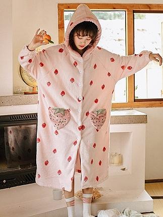 珊瑚絨睡衣女秋冬加厚長款睡袍女冬浴袍可外穿甜美可愛家居服