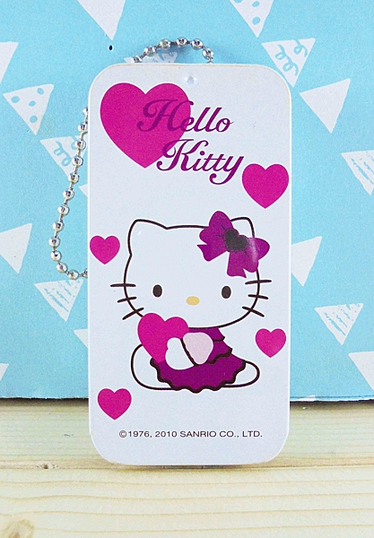 【震撼精品百貨】Hello Kitty 凱蒂貓~KITTY鐵盒鑰匙圈-愛心圖案-白色