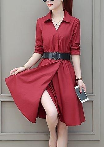 FINDSENSE品牌 秋季 新款 韓國原裝 女 氣質 優雅 POLO領 顯瘦