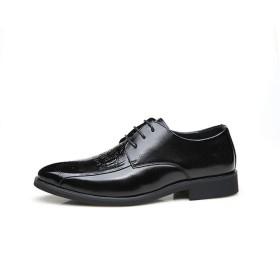 [Jusheng-shoes] メンズシューズ ファッションメンズエンボスドレスシューズはレースアップ本革ポインテッドトゥあきブロックヒールソリッドカラーのソフトノンスリップのためのクラシックオックスフォード カジュアルシューズ (Color : ブラック, サイズ : 24.5 CM)
