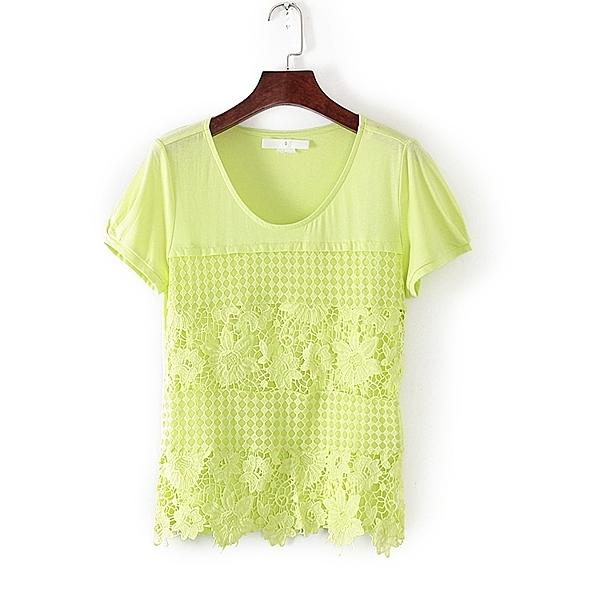 [超豐國際]面春夏裝女裝綠色繡花拼接鏤空短袖T恤 31558(1入)