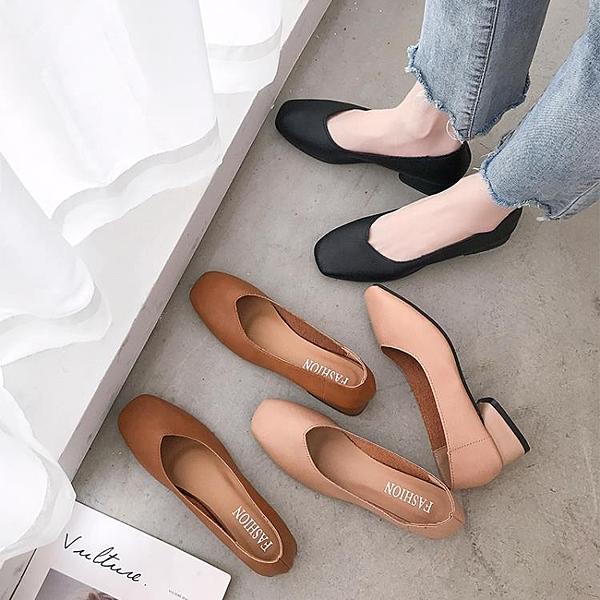 高跟鞋 中跟鞋 2020新款 春秋季 百搭 方頭 復古奶奶鞋 中跟小皮鞋子