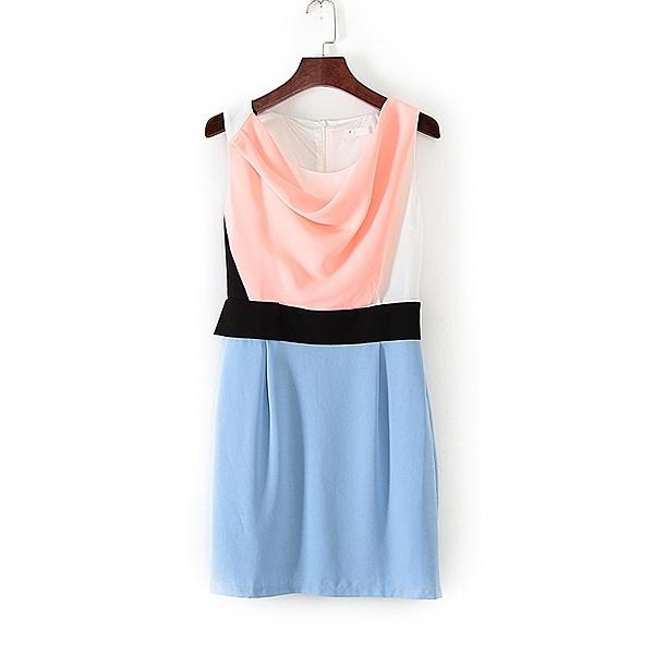 [超豐國際]面春夏裝女裝粉藍色OL通勤輕熟連衣裙 31673(1入)