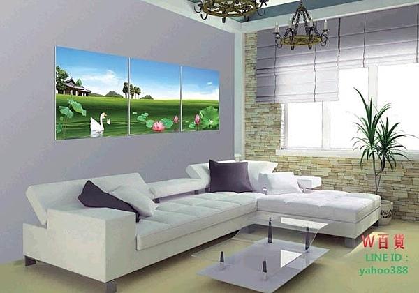無框畫裝飾畫沙發背景客廳臥室裝飾三聯河邊美景荷花白鵝綠草地