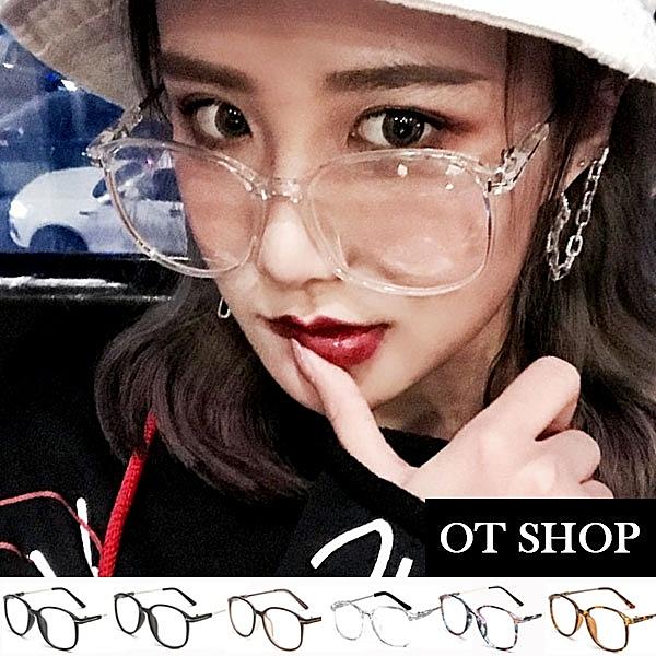 OT SHOP眼鏡框‧復古俏皮造型圓框平光眼鏡‧百搭文青細框T字金屬裝飾設計‧‧現貨六色‧F06