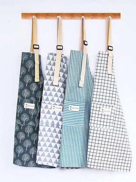 圍裙 韓版時尚廚房可愛女棉麻男士工作服做飯女士圍腰防水防油成人