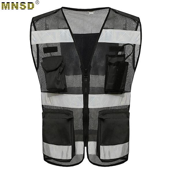 反光背心 MNSD  透氣網布反光背心馬甲 拉閒設計 對講機口袋 黑色施工馬甲 MKS免運