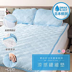 樂嫚妮 贈Astonish清潔劑-接觸涼感纖維墊床墊枕墊-單人-藍