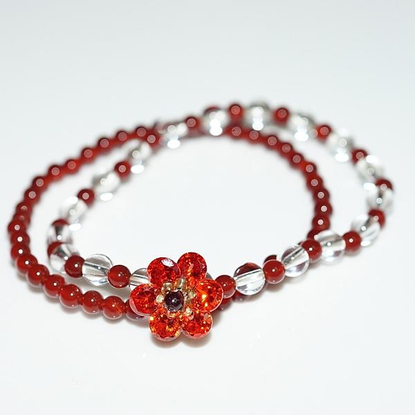 【喨喨飾品】紅瑪瑙鋯石花手鍊 開運飾品 A693