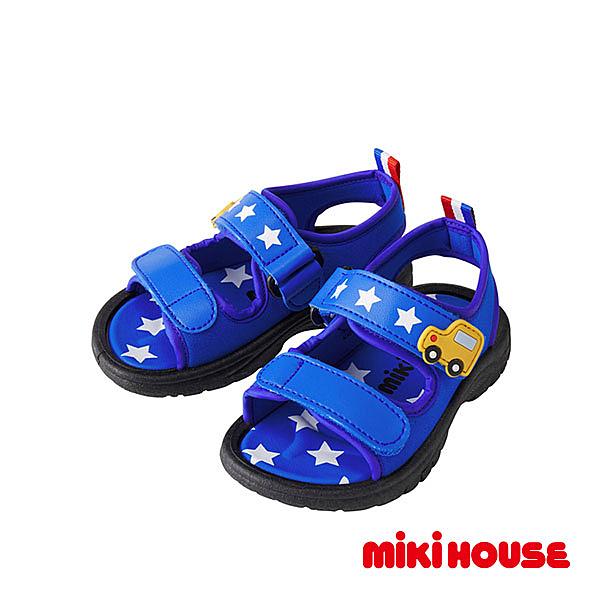 MIKI HOUSE 小汽車沙攤涼鞋(藍)