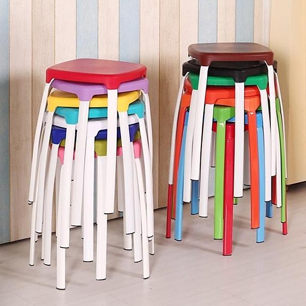 家用塑料方凳子時尚創意高凳加厚彩色板凳簡易圓凳餐換鞋凳子椅子
