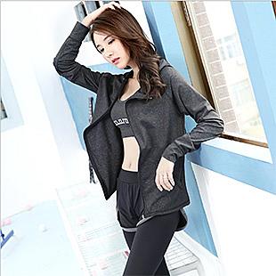 韓版時尚瑜伽運動三件式套裝(深黑灰色)