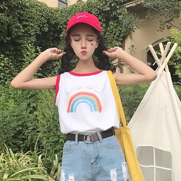 [超豐國際]女裝少女可愛日系彩虹冰淇淋印花顯瘦學生軟妹無袖背(1入)
