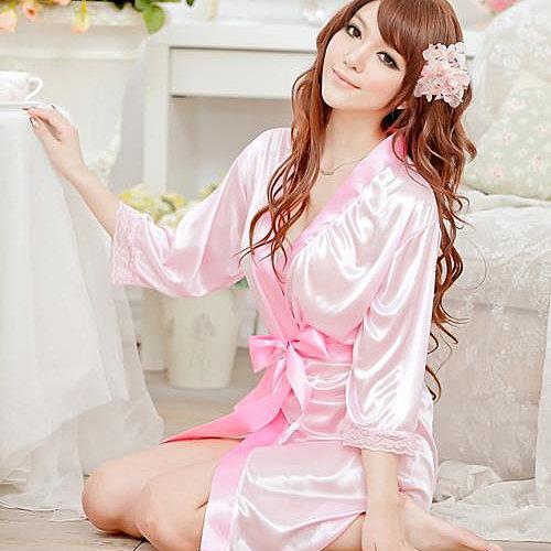 甜蜜嬌妻 素面絲緞一件式睡袍(甜美粉)