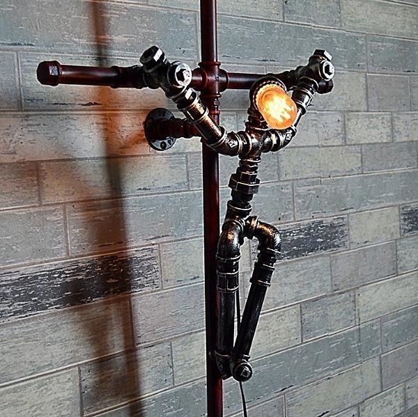 耶穌十字架工業風LOFT壁燈 創意燈頭鐵水管藝術燈飾 愛迪生E27燈頭復古燈泡LG8114(不含燈泡)