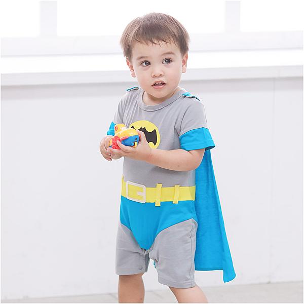 造型連身衣 蝙蝠俠 男寶寶 披風 爬服 哈衣 Augelute Baby 32007