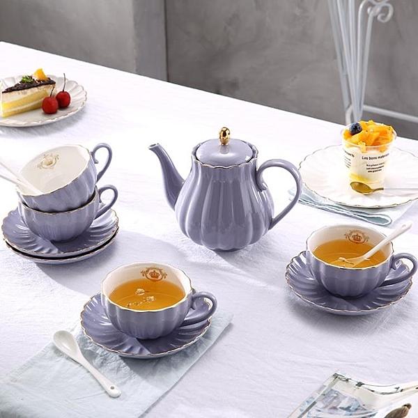 陶瓷歐式茶具套裝帶碟 下午茶英式紅茶杯子咖啡杯具套裝WY