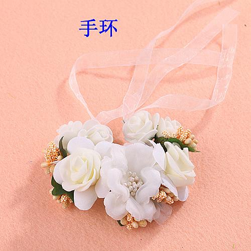 手環 韓式花環頭飾品頭花發飾 手花圈新娘拍照寫真海邊手腕花─預購CH1664