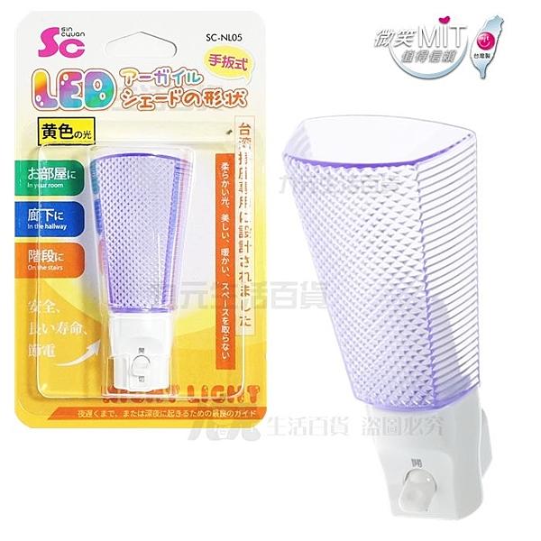 【九元生活百貨】SC 菱格燈罩LED小夜燈/暖光 手動式夜燈 NL05