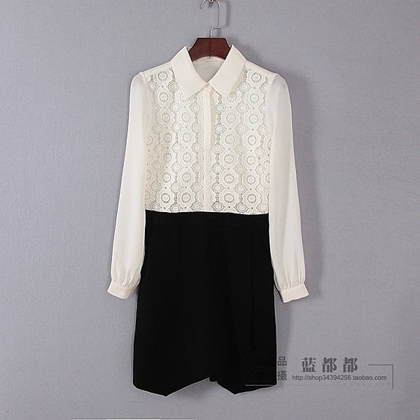 [超豐國際]面春夏裝女裝米色拼色淑女氣質襯衫領連衣裙 313(1入)