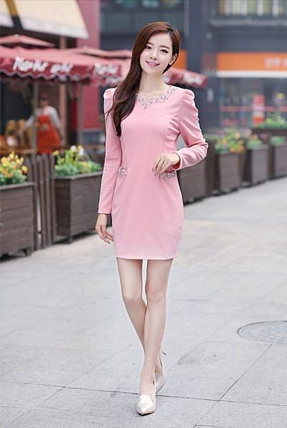 ♥ 俏魔女美人館 ♥  2014韓版奢華鑲鑽釘珠公主袖氣質修身包臀長袖連衣裙
