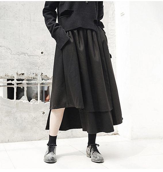 不規則下襬冬季加厚絨料中長裙/設計家