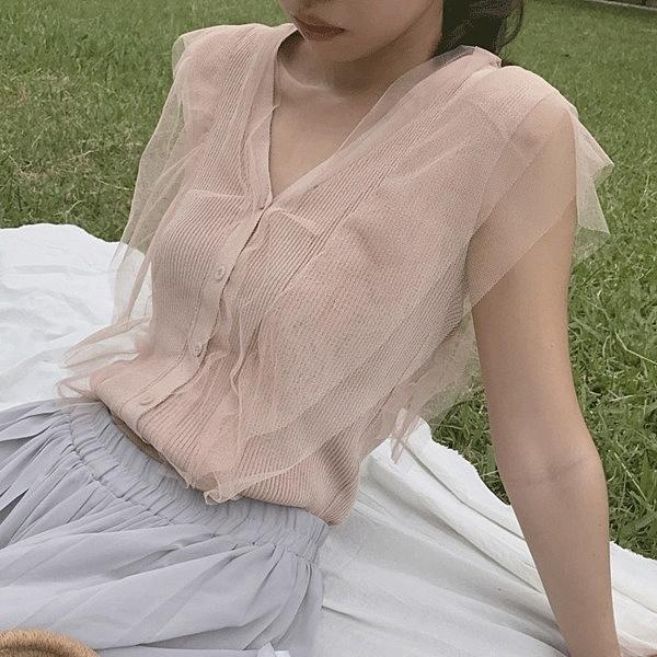 [超豐國際]復古顯白仙女氣質網紗拼接薄款短袖V領針織衫女上衣1入
