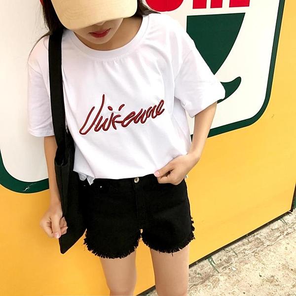[超豐國際]夏季字母刺繡寬松bf純棉原宿風短袖t恤女學生打底1入