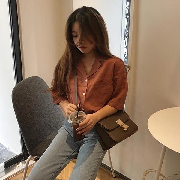 [超豐國際]夏季學院風單排扣口袋純色麻料西裝領短袖襯衫女裝上1入