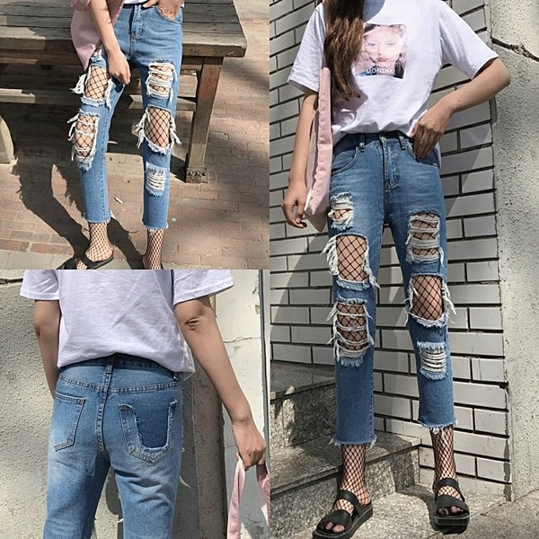 [超豐國際]春夏做舊水洗毛邊破洞牛仔褲女學生寬松九分褲百搭乞1入