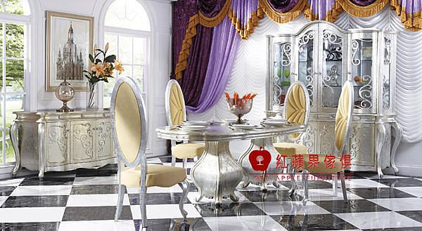 [紅蘋果傢俱] S607L 時尚居系列 新古典 法式 歐式 橢圓/圓餐桌 時尚餐椅 餐台 餐椅