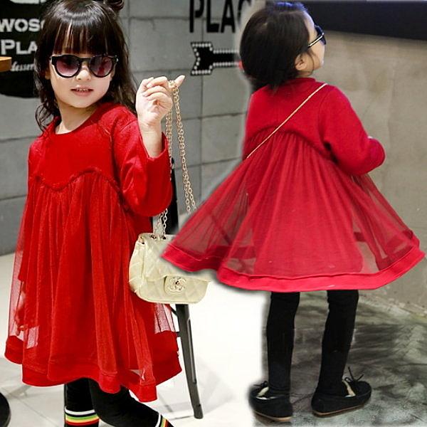 *╮S13小衣衫╭*毛呢蕾絲紅紅公主網紗澎裙洋裝  1050102
