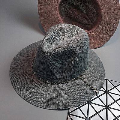 遮陽帽韓版夏季遮陽帽子時尚十字架鏈條大帽簷防曬太陽帽爵士帽【02U0241】