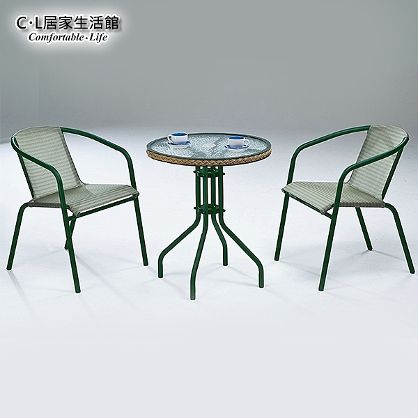 【 C . L 居家生活館 】Y830-1+Y830-2 休閒玻璃圓桌椅組(1桌2椅)