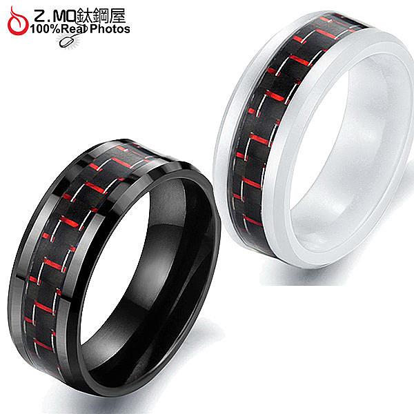 [Z-MO鈦鋼屋]陶瓷戒指/紅色碳纖花紋設計/中性款式戒指/時尚潮流 單只價【BKC201】