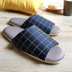 【iSlippers】療癒系舒活布質室內拖鞋(多款任選)方格-丈青(L)