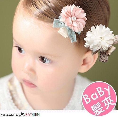韓版女童立體珍珠花朵蝴蝶結髮夾 髮飾