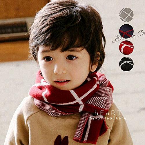 雙色格紋保暖圍巾 兒童圍巾 保暖圍巾 針織圍巾