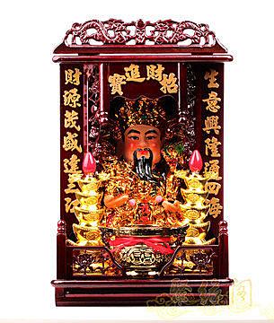 【16寸文財神】 開光財神擺件 財神+佛龕+香爐+佛香+蠟燭燈
