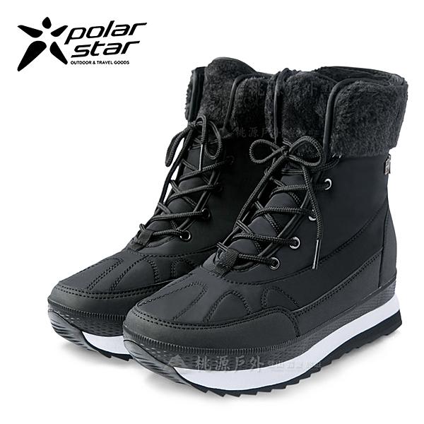 PolarStar 女 保暖雪鞋│雪靴│冰爪『爵士黑』 P16632 (內厚鋪毛/ 防滑鞋底) 雪地靴.保暖.抗寒